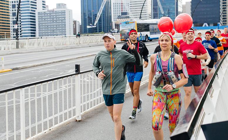 Joe Ward departing Brisbane for his 12 day running journey.