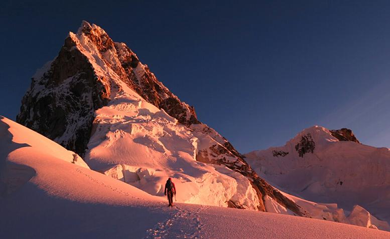 Ben Dare on Mt Talliraju shot by Steve Skelton