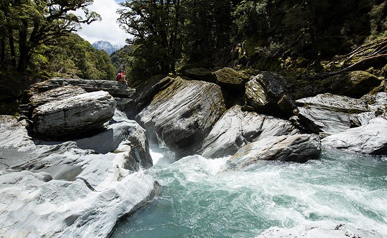 Jordan Searle and David Bain Scouting the Karangarua River