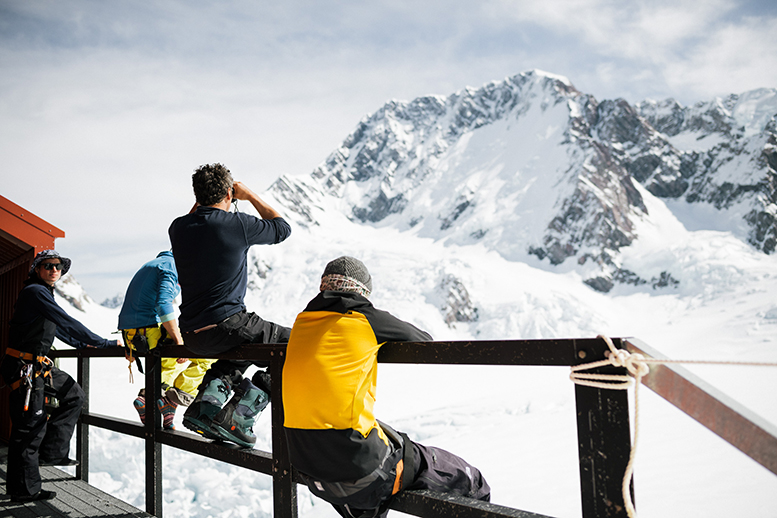 The team scoping out Mount Cook. Shot by Mickey Ross
