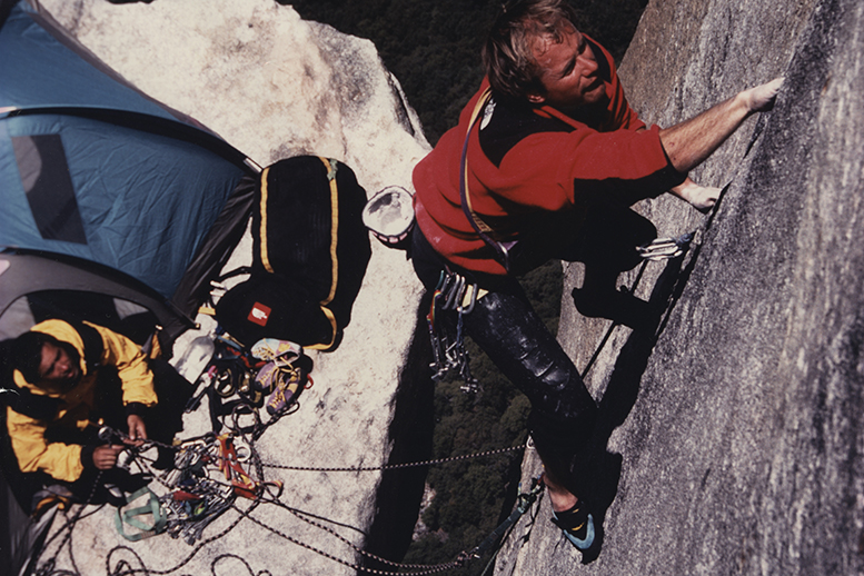 Todd Skinner and Paul Piana on El Capitan's Salathe Wall completing the first free climb of a big wall in Yosemite, 1988, shot by Bill Hatcher