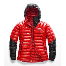 Image of The North Face Australia FIERY RED/TNF BLACK WOMEN'S SUMMIT L3 DOWN HOODIE