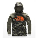 Image of The North Face Australia New Taupe Green Camouflage Print BOYS' SURGENT 2.0 PULLOVER HOODIE